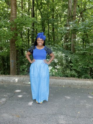 Church Chic: Long Blue Skirt