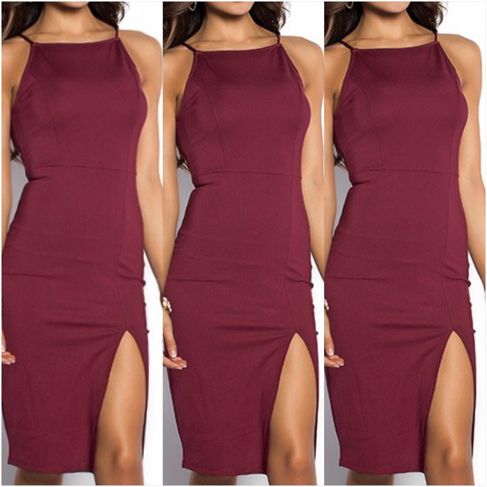 Marsala Cocktail Slit Dress