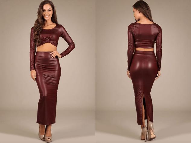 New Arrivals: Fall Marsala Burgundy Skirt Set