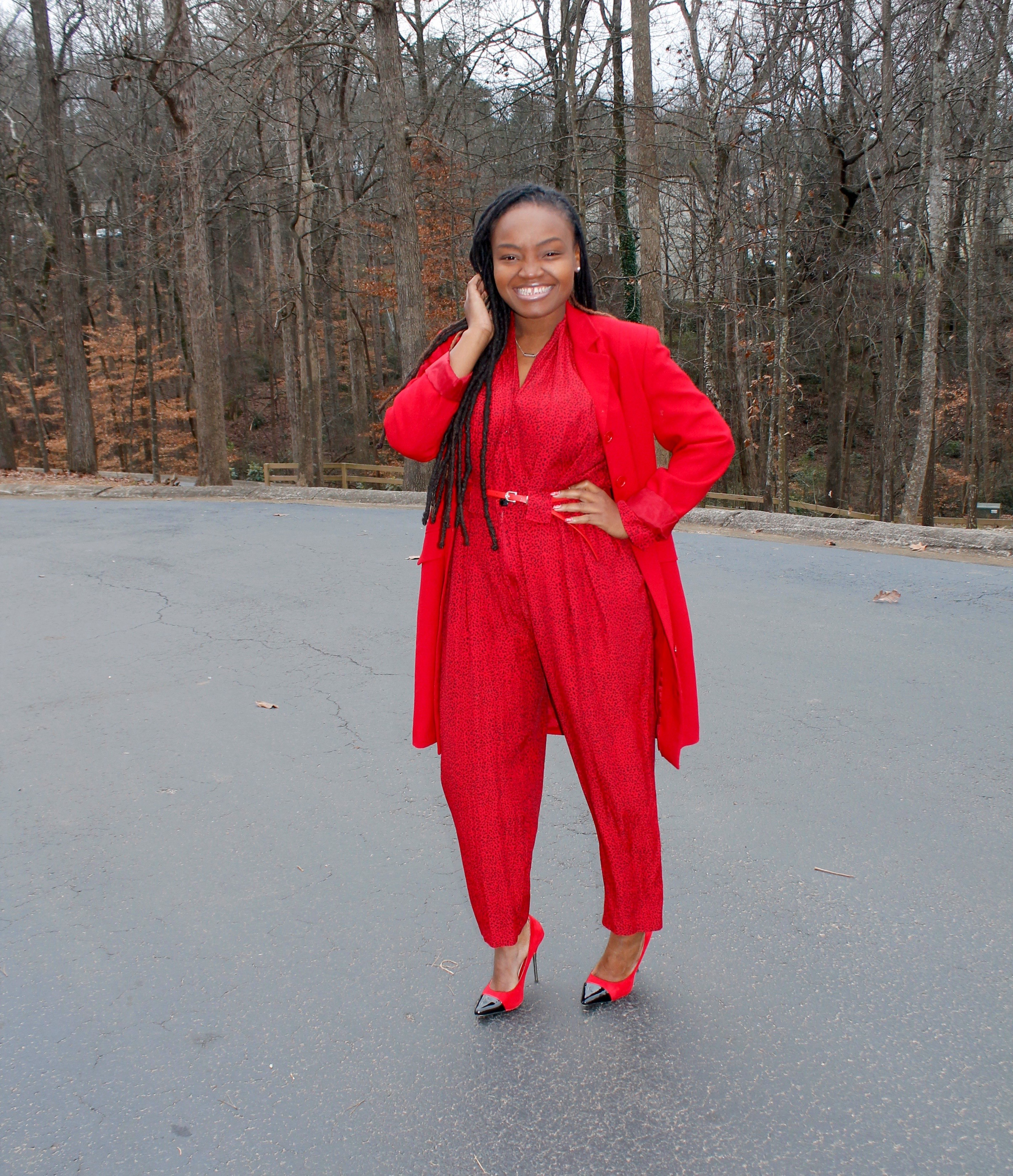 STYLE BOOK: FIRST SUNDAY BEST- RED JUMPSUIT
