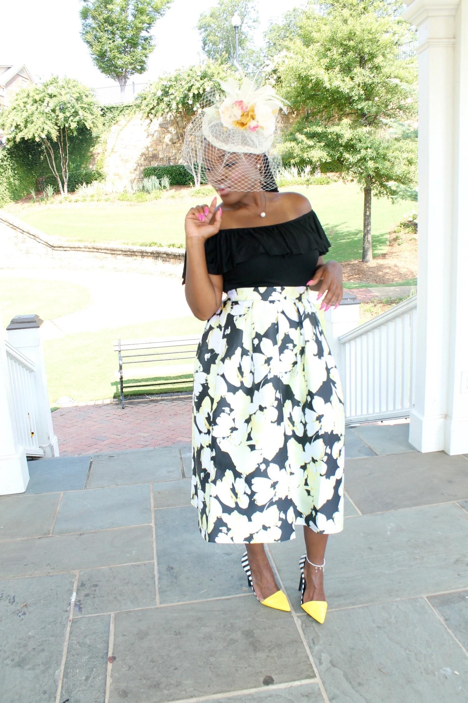 Style Tea Party Attire Floral Skirt X Bodysuit
