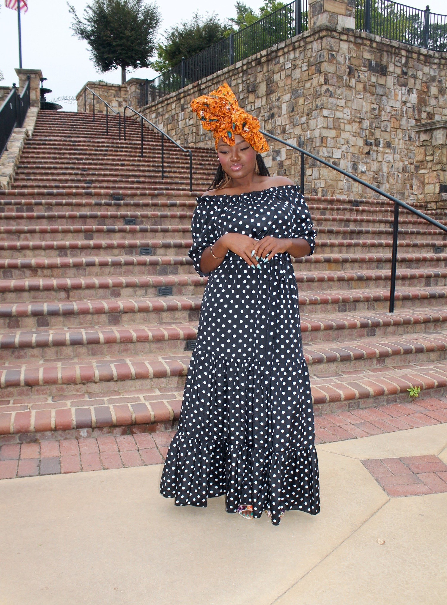 OFF THE SHOULDER POLKA DOT MAXI DRESS +LINKUP #14