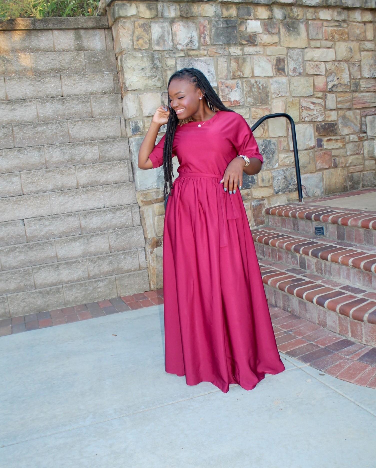 STYLE: PRETTY BURGUNDY DRESS +LINKUP