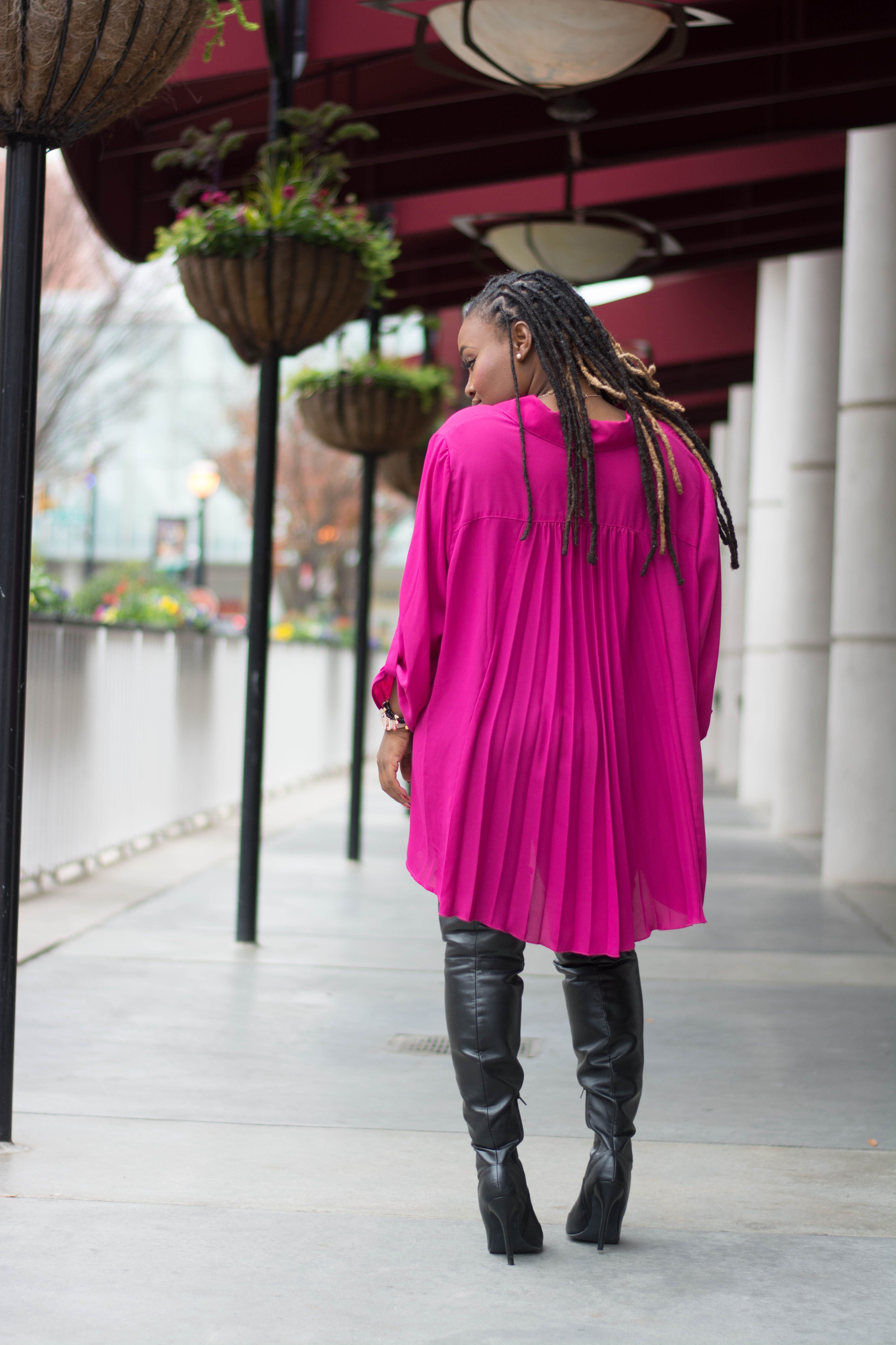 STYLE: PINK FLOWY TARGET OVERSIZED BLOUSE