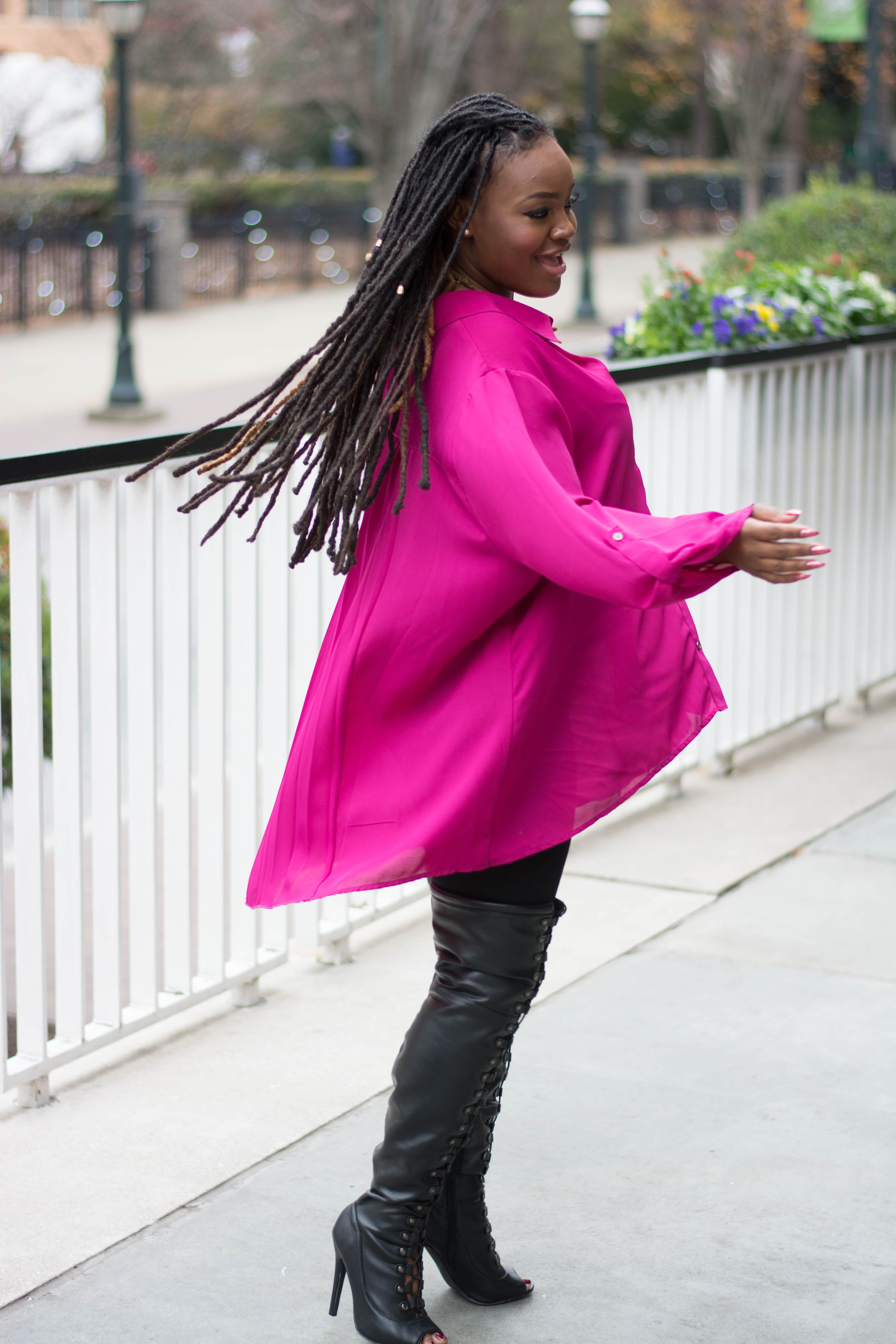STYLE: TARGET PINK FLOWY OVERSIZED BLOUSE
