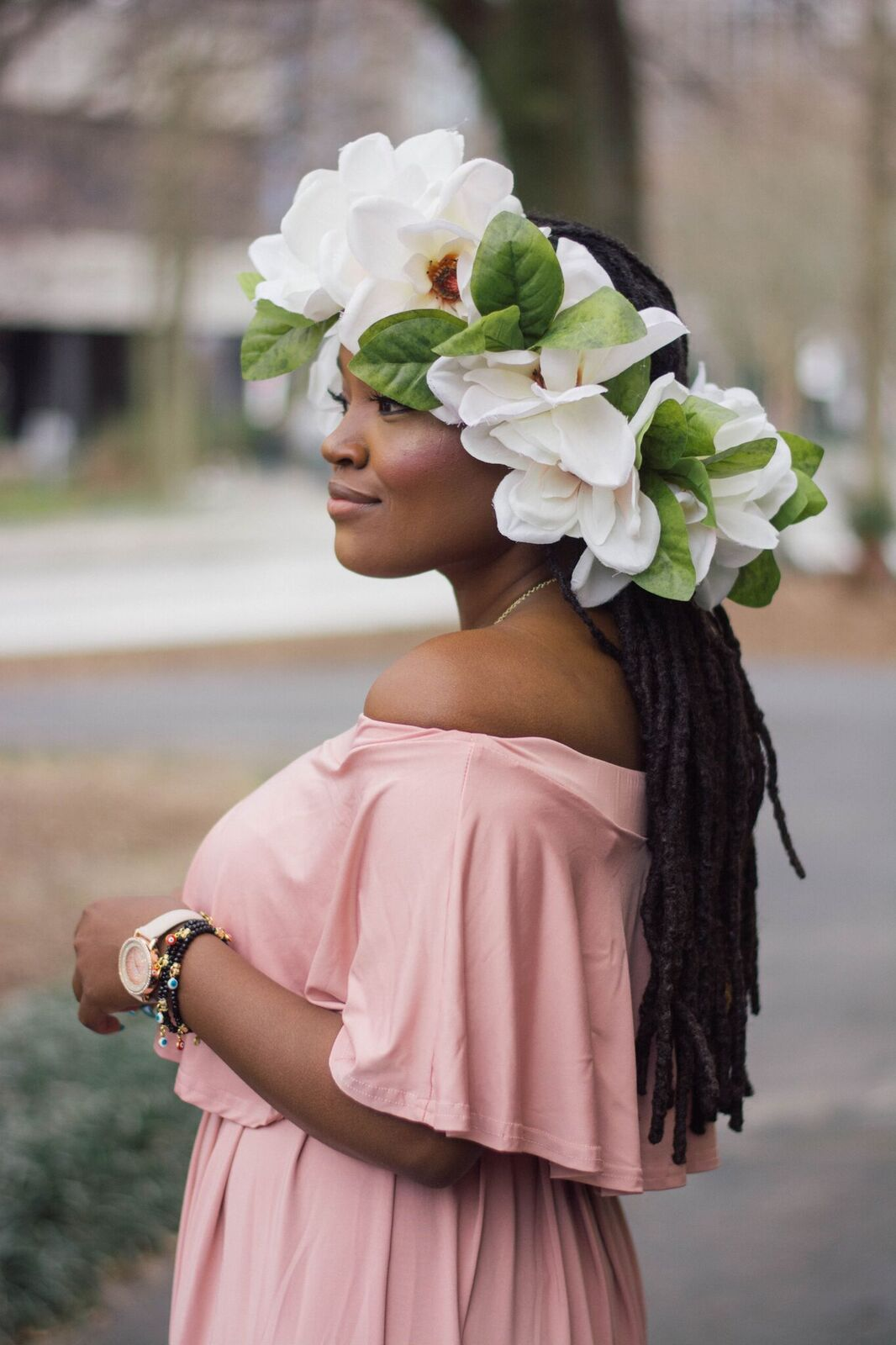 STYLE: SHEIN PINK OFF THE SHOULDER MAXI DRESS