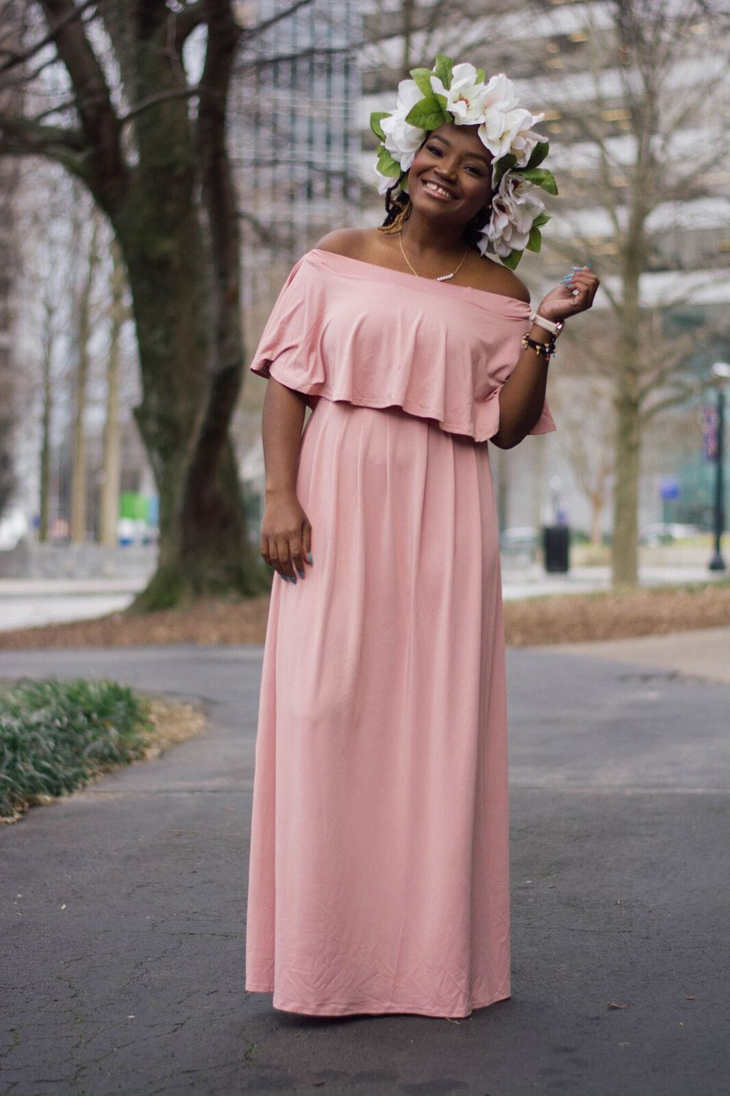 314478ed7d STYLE: SHEIN PINK OFF THE SHOULDER MAXI DRESS