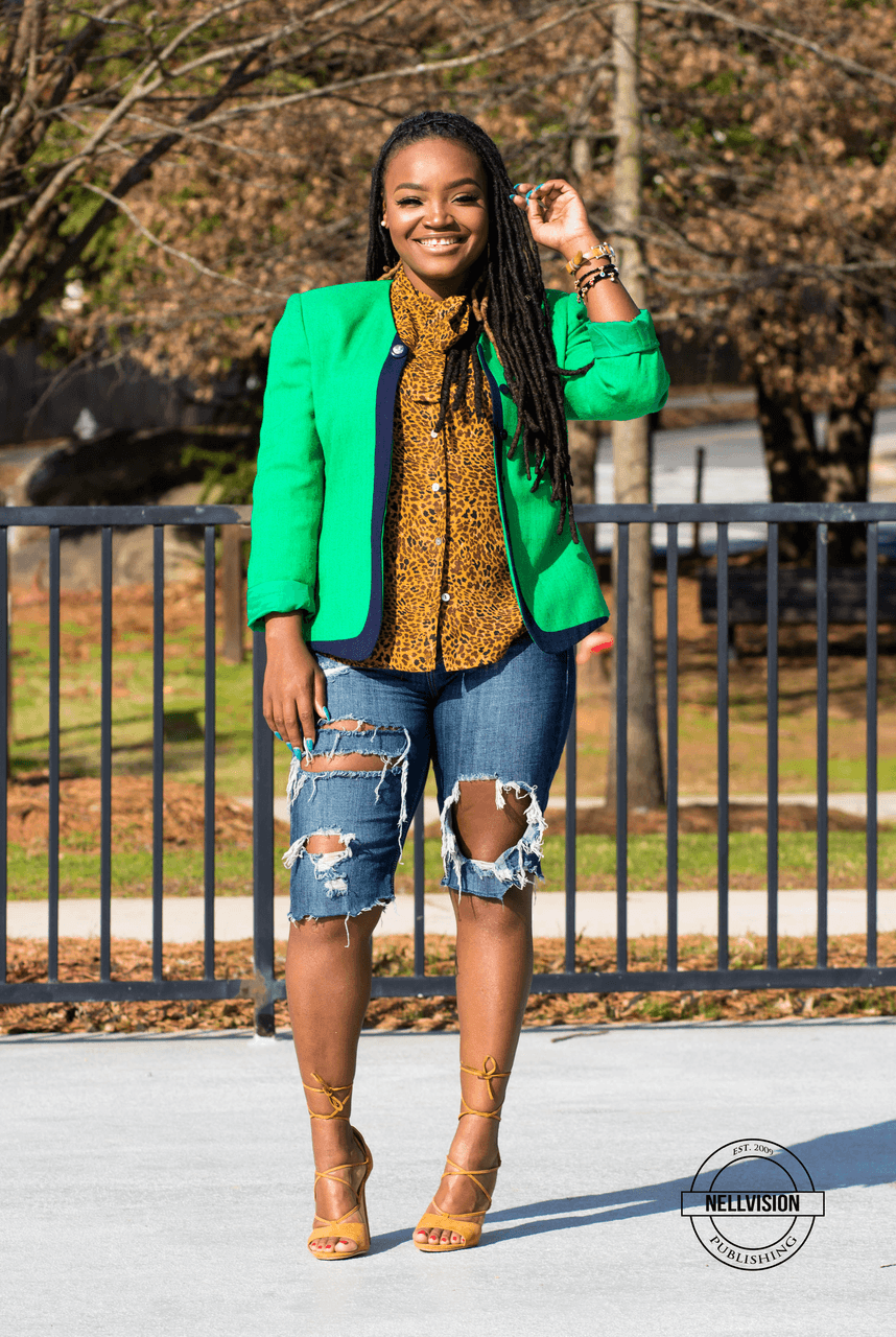 STYLE: GREEN BLAZER X RIPPED DENIM SHORTS