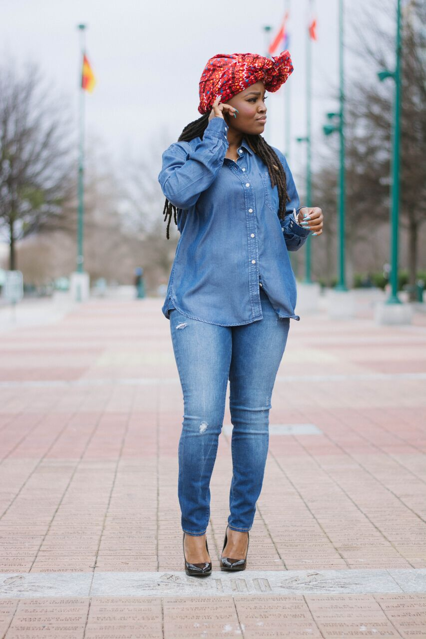 STYLE: LIGHT DENIM ON DENIM X HEADWRAP