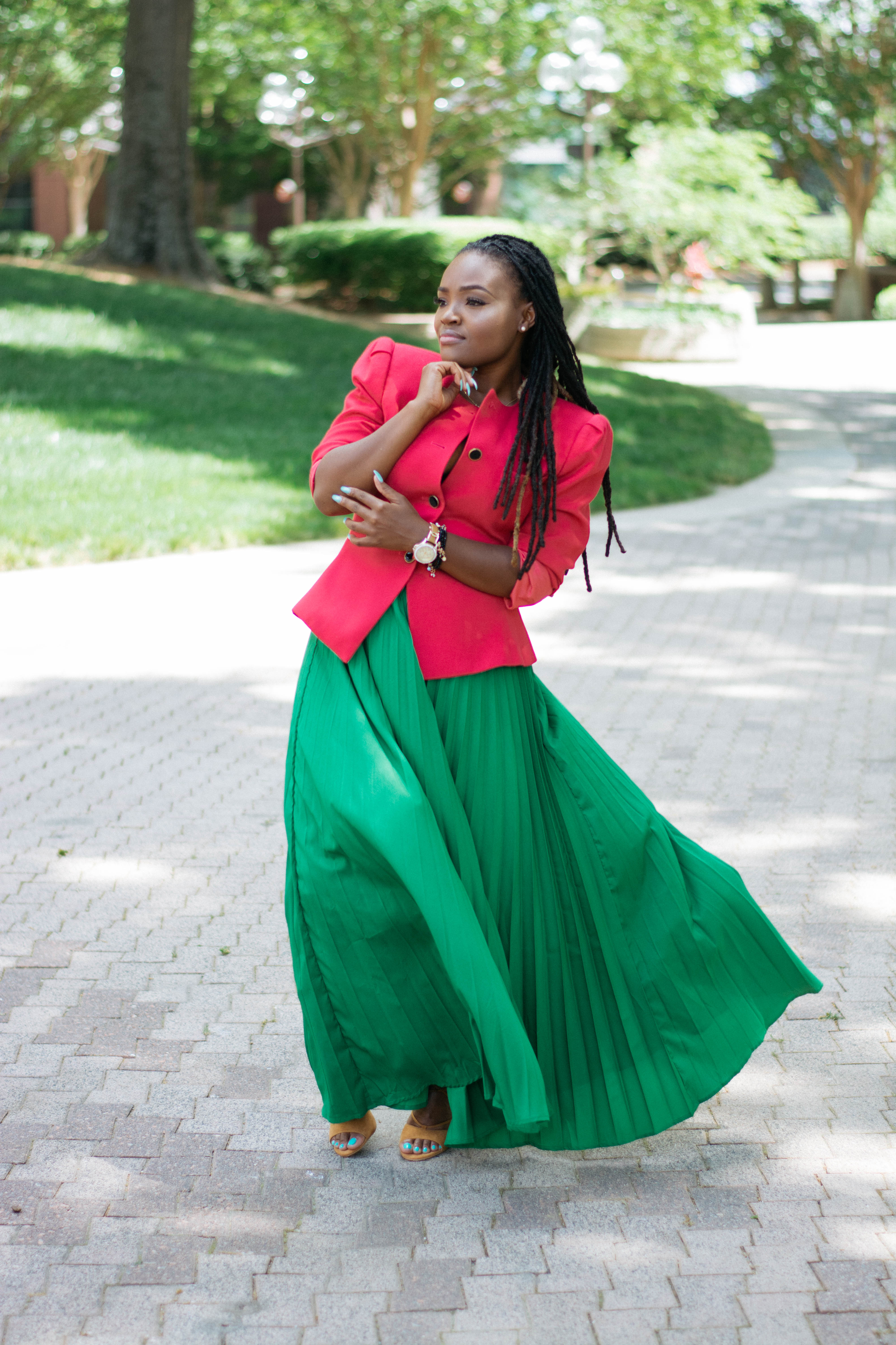 47e3604941 STYLE: SPRING SHEIN GREEN PLEATED MAXI SKIRT