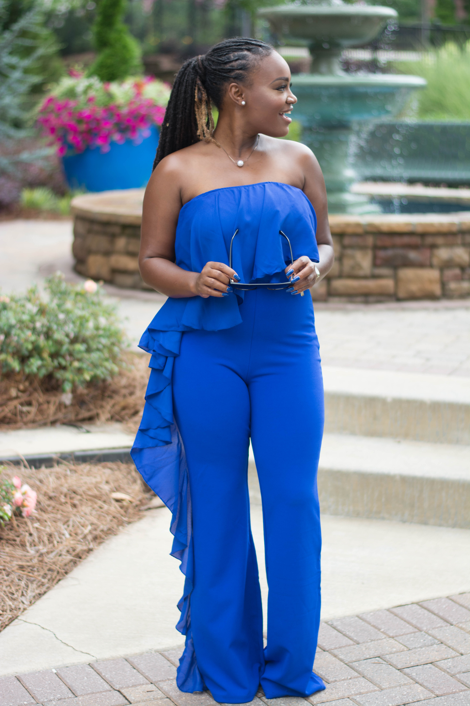 PRIIINCESSS FASHION WEEK LOOK ONE- SLAYVEN BOUTIQUE BLUE JUMPSUIT