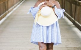 SUMMER CLOSEOUT- OFF THE SHOULDER STRIPED DRESS
