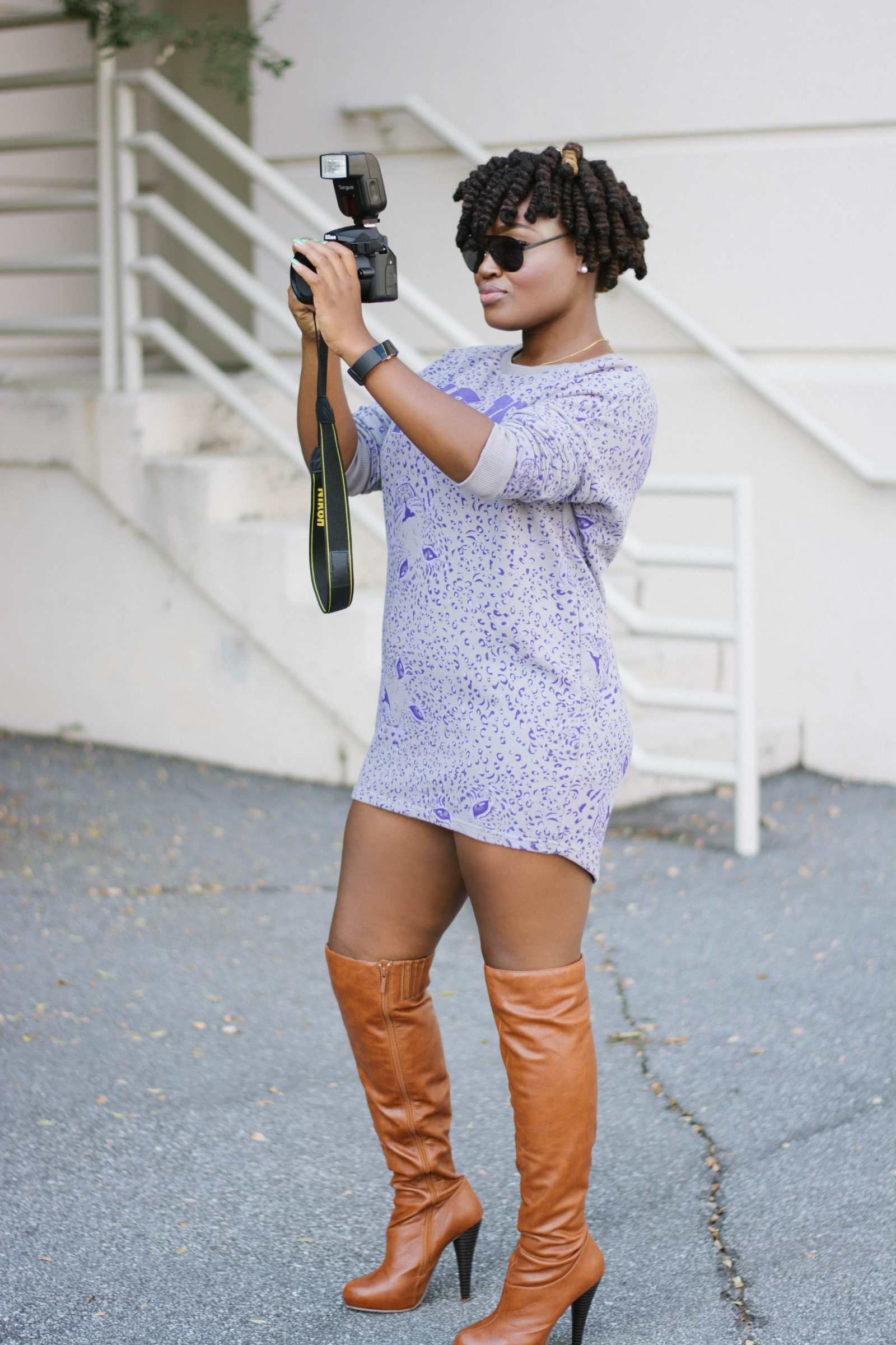 H&M FALL SWEATER DRESS OVER BOOTS