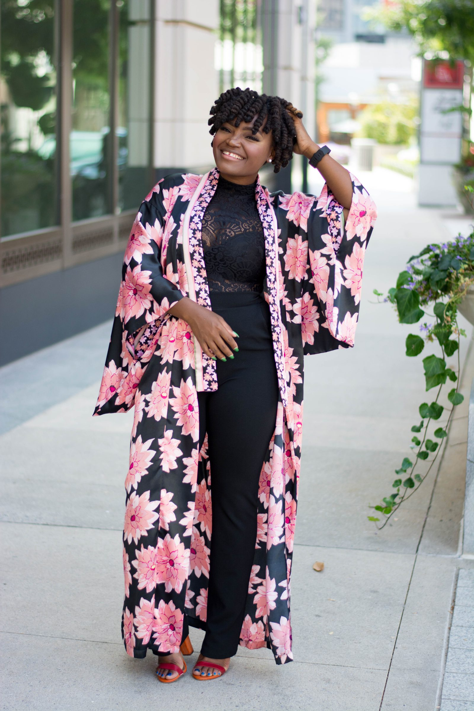 MEDIA COVERAGE PINK FLORAL DUSTER
