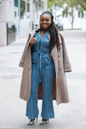 eSHAKTI VINTAGE WASH COTTON DENIM JUMPSUIT