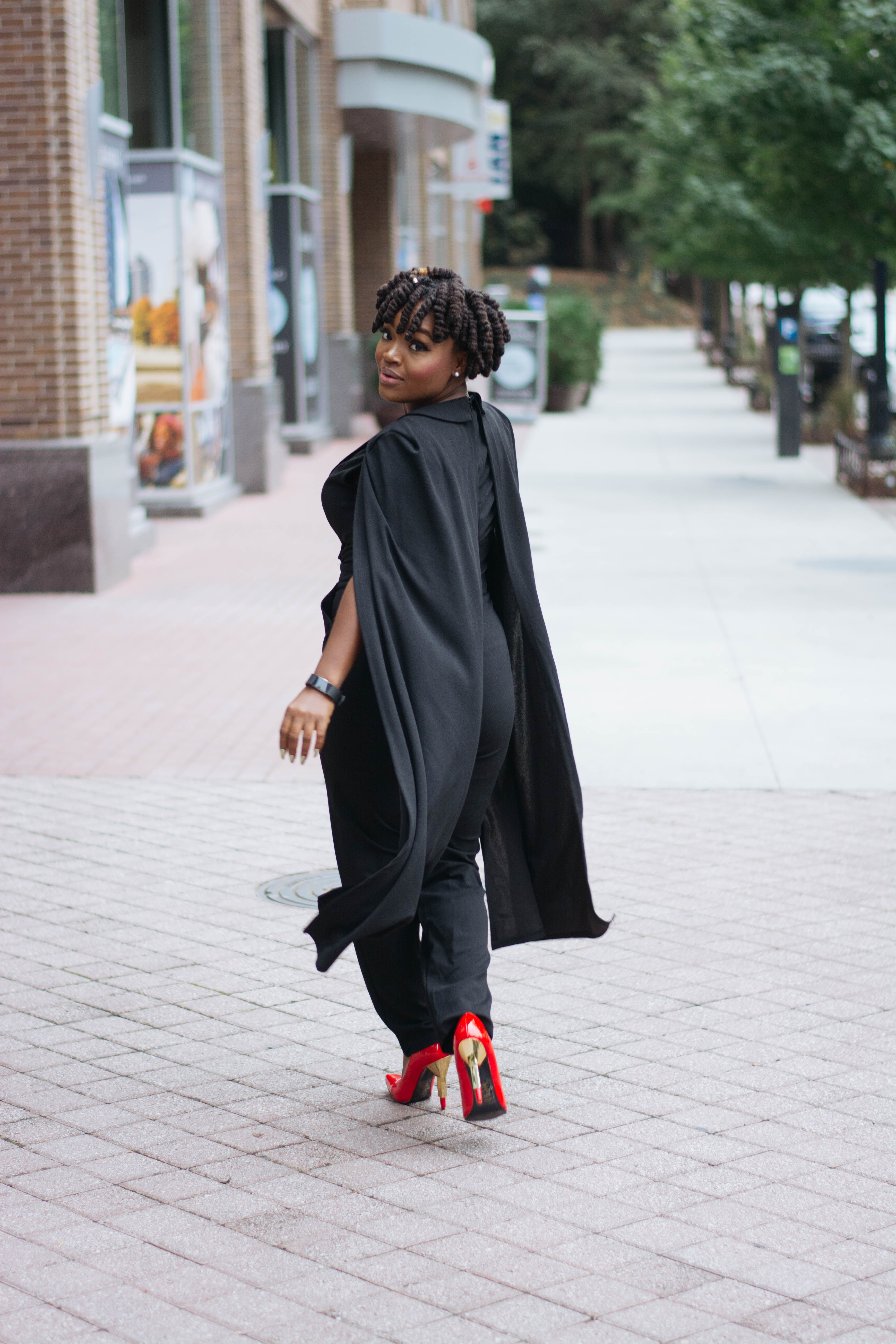WPS: GLAM NIGHT OUT- BLACK CAPE JUMPSUIT
