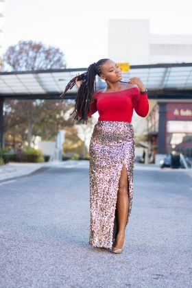 HOLIDAY FORMAL: RED BODYSUIT X SEQUIN MAXI SKIRT