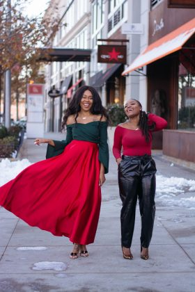 HOLIDAY BLOGGERS BRUNCH: RED BODYSUIT X PAPERBAG PANTS
