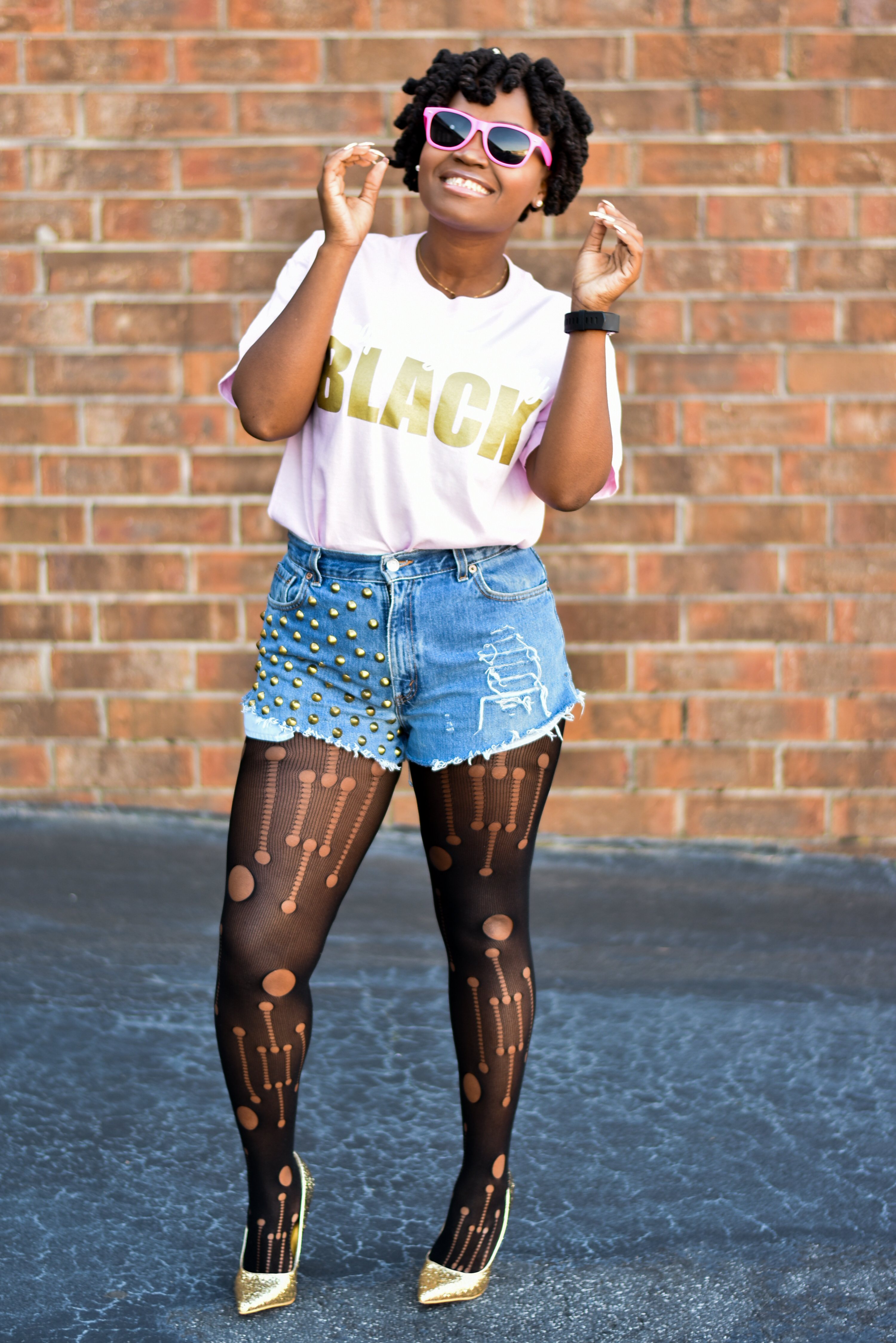 Holed Stockings Grab My Pink S Trip Shades And I Was Instantly Unapologetically Black Barbie Think The Look Is Super Cute Hope You Do Too