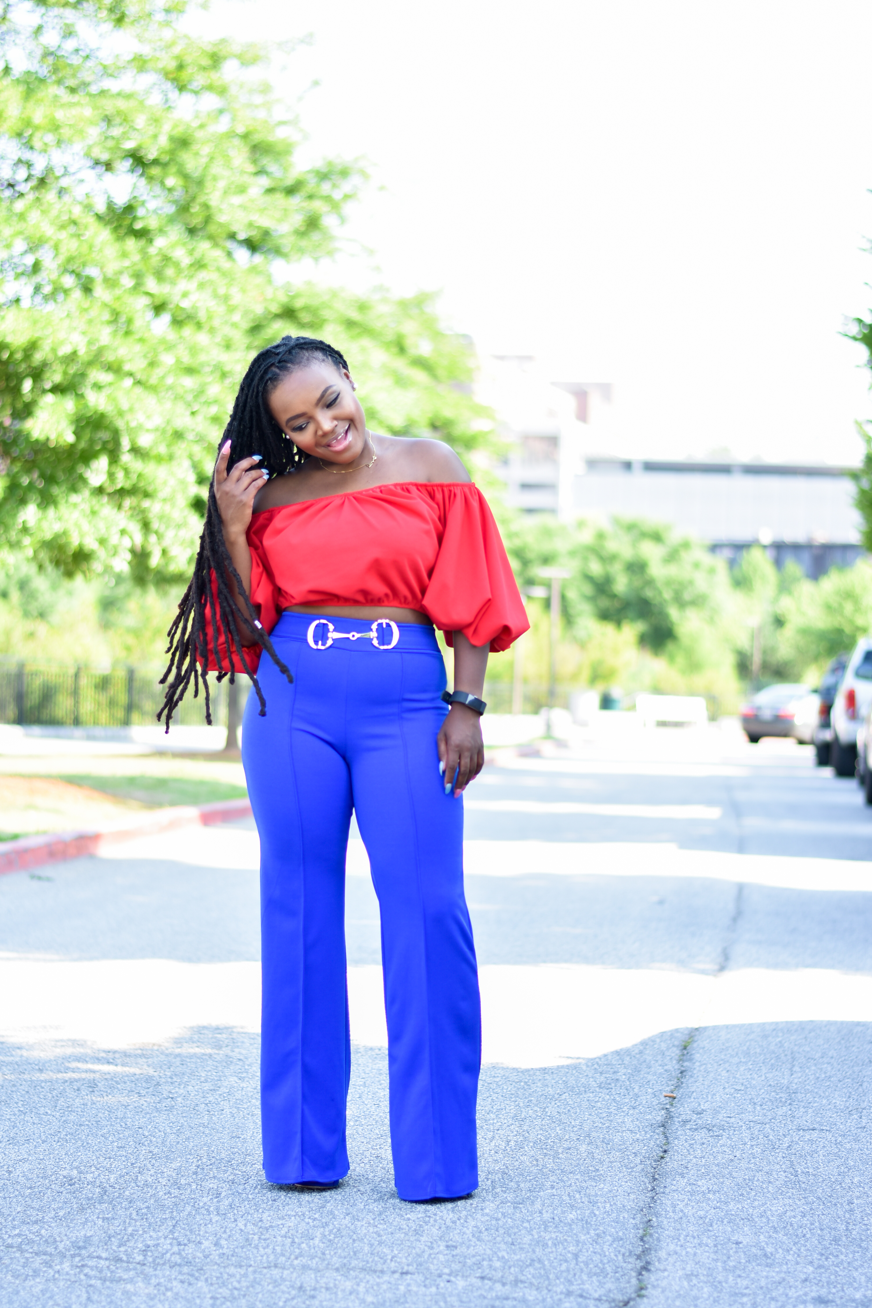 RED AND BLUE DAY- RED OFF THE SHOULDER CROP TOP