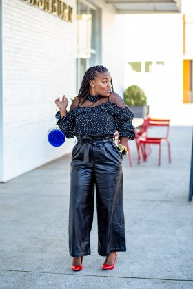 WORK CHIC: BLACK FAUX LEATHER TROUSER